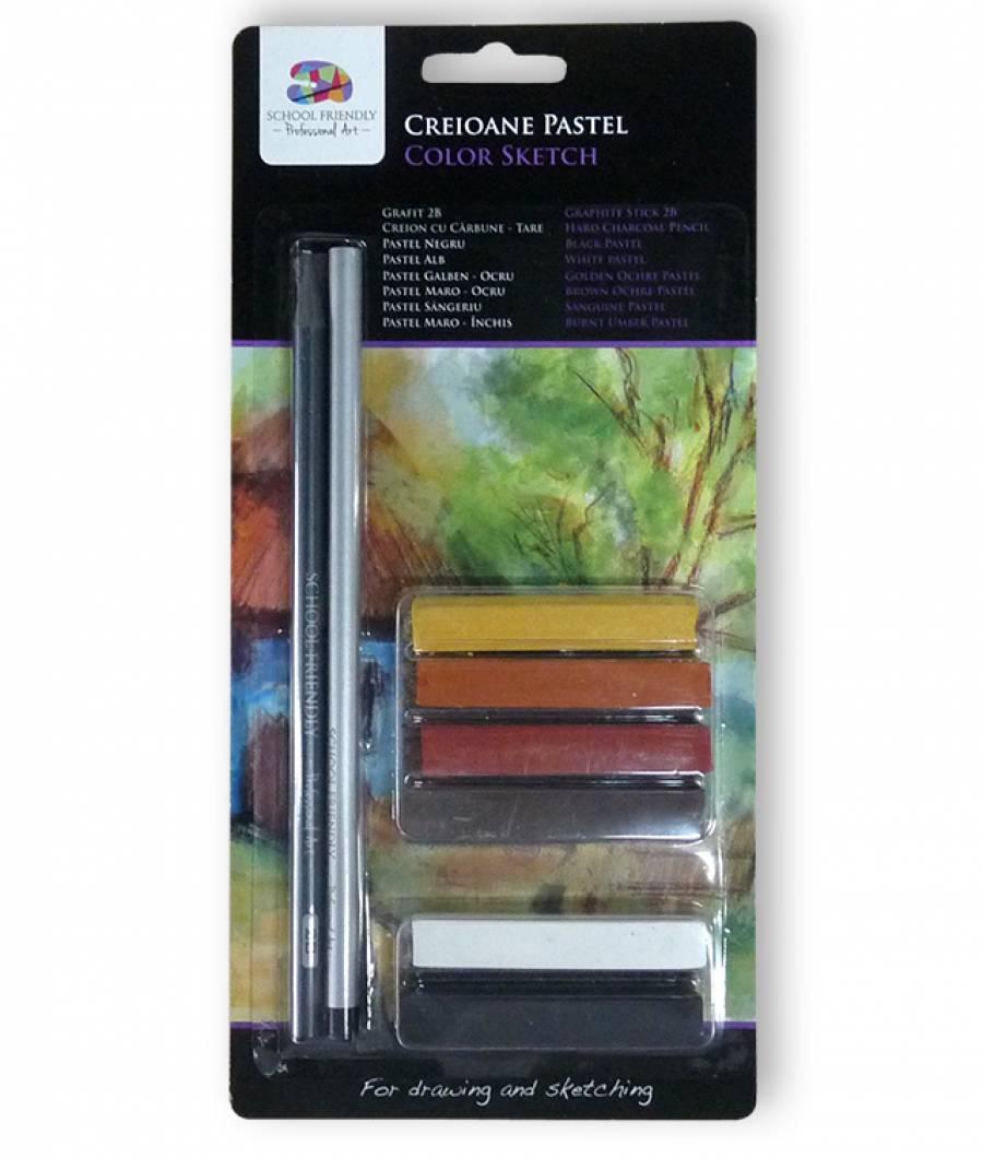 Creioane. ARTIST SFART pastel 6 nuante, 1 creion grafit, 1 creion SFART