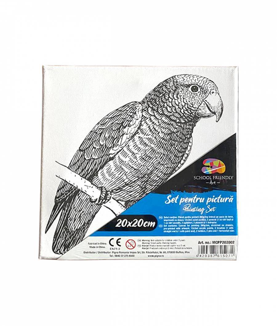 Panza pre printata SF ART sasiu lemn 1.6x2.5cm, 20x20cm Papagal