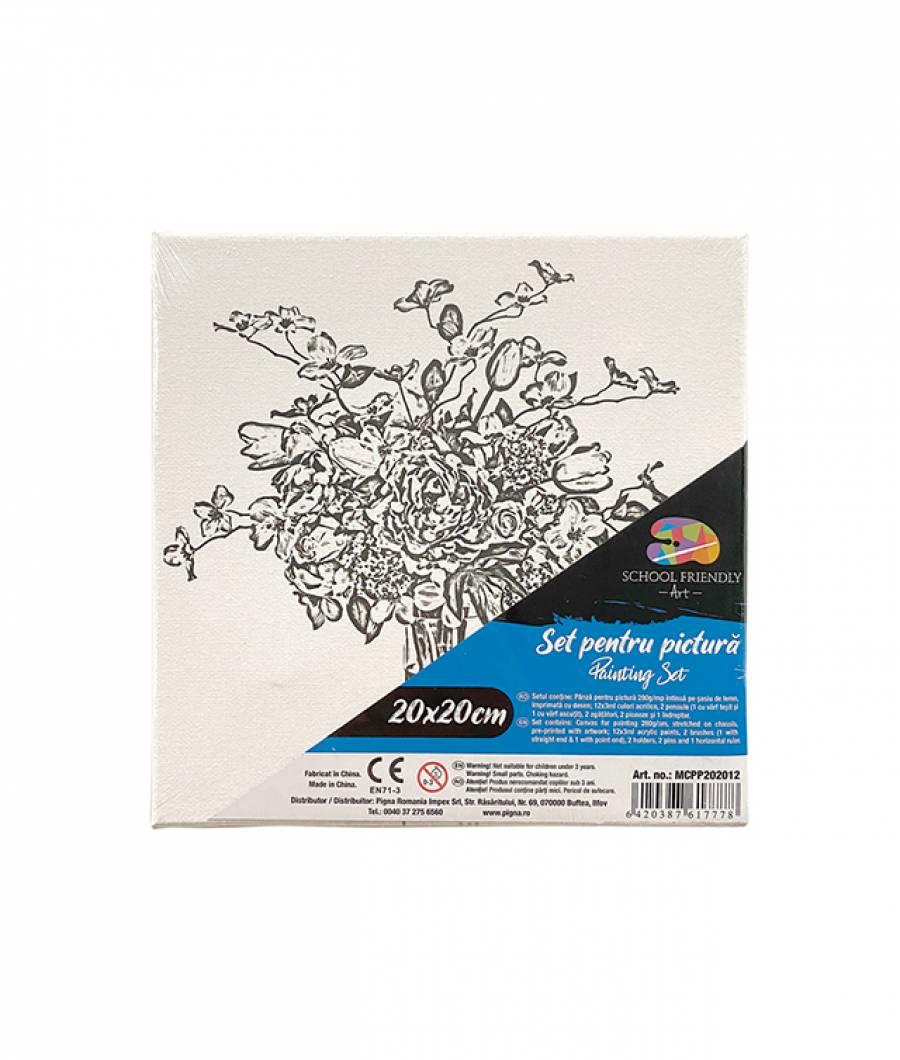 Panza SF ART pre printata  sasiu lemn 1.6x2.5cm 20x20cm Flori 1
