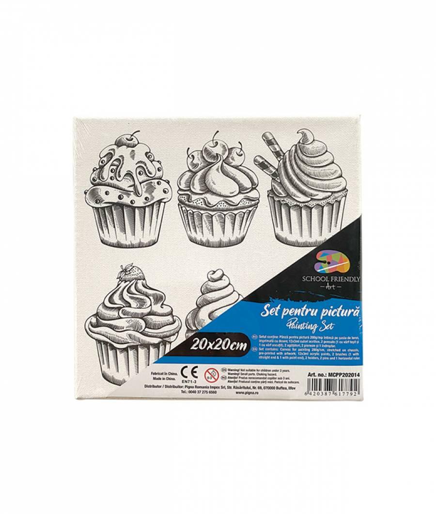 Panza SF ART pre printata  sasiu lemn 1.6x2.5cm 20x20cm Cupcake