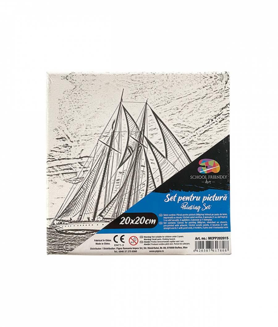 Panza SF ART pre printata  sasiu lemn 1.6x2.5cm 20x20cm Barca 1