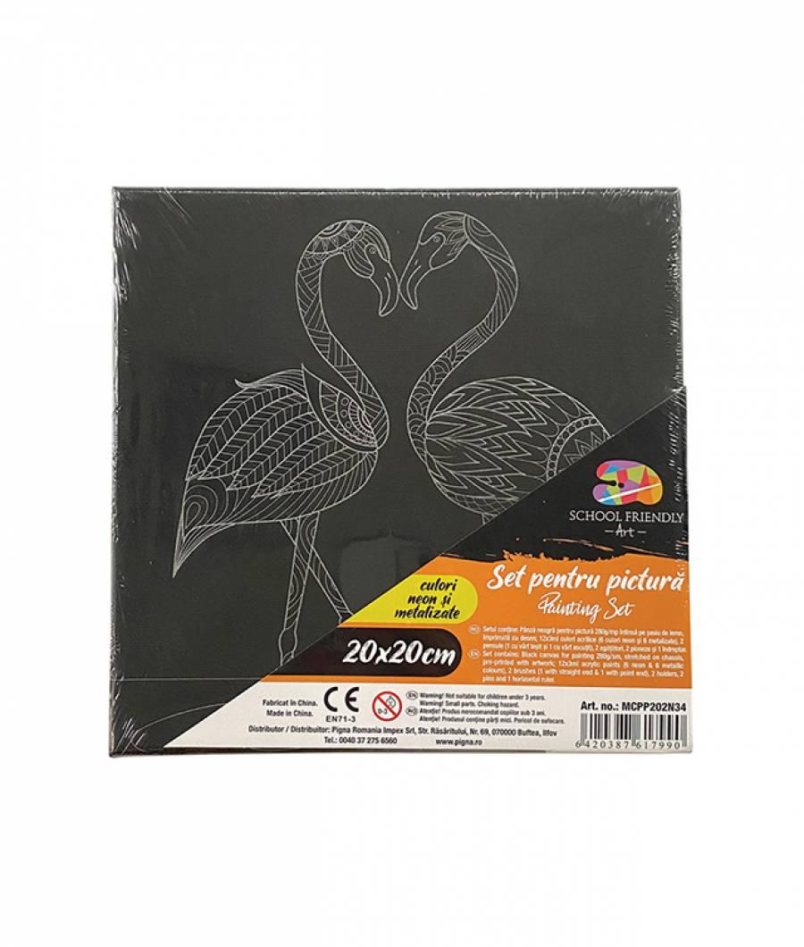 Panza SF ART pre printata neagra sasiu lemn 1.6x2.5cm 20x20cm Flamingo