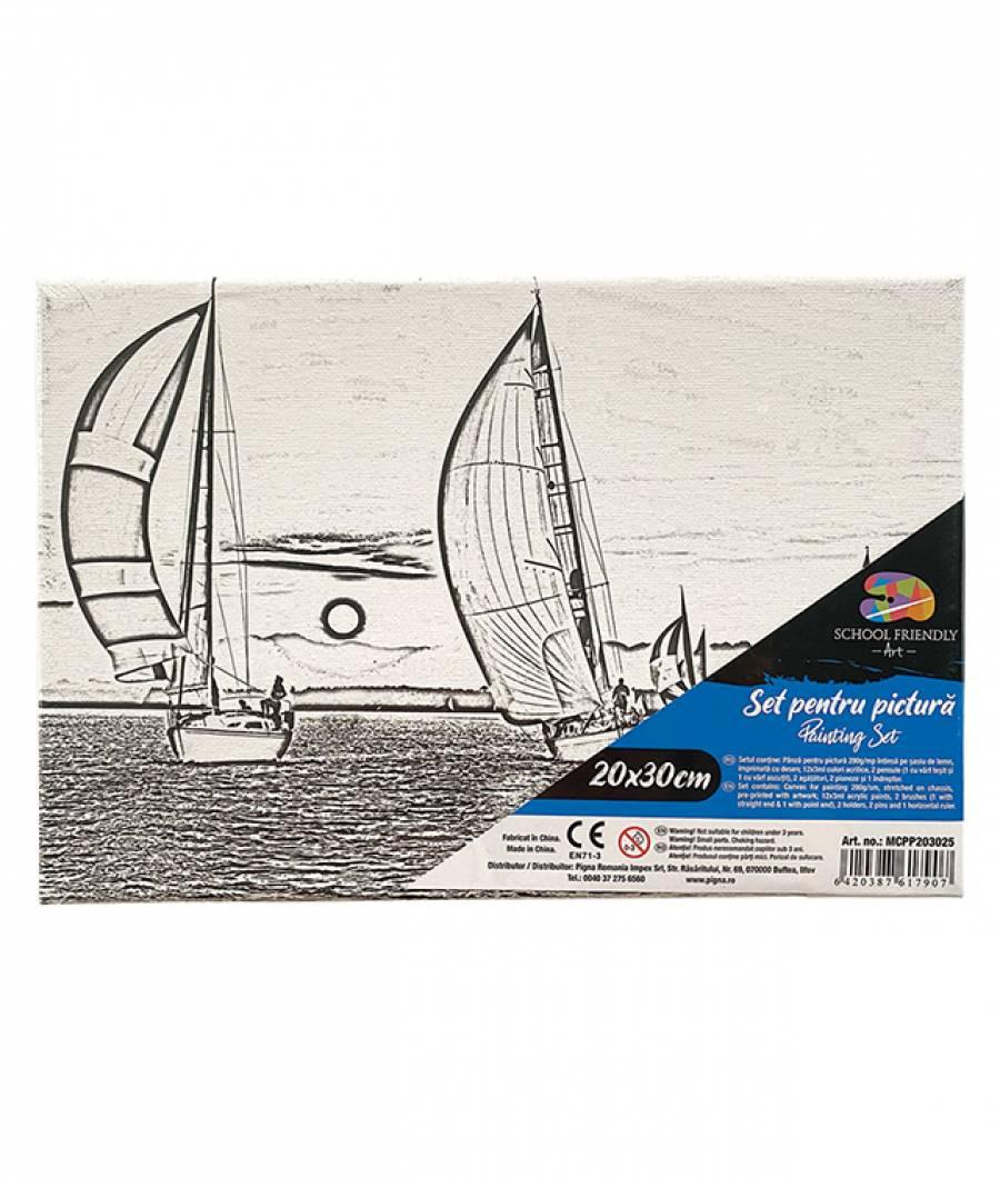 Panza SF ART pre printata  sasiu lemn 1.6x2.5cm 20x30cm Barca 2
