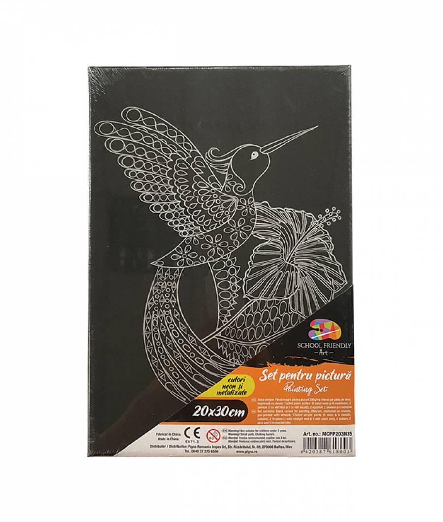 Panza SF ART pre printata neagra sasiu lemn 1.6x2.5cm 20x30cm Pasare 2