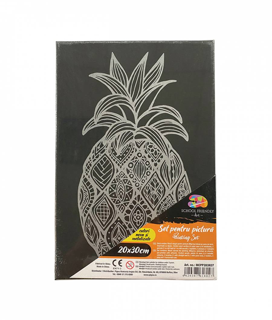 Panza SF ART pre printata neagra sasiu lemn 1.6x2.5cm 20x30cm Ananas