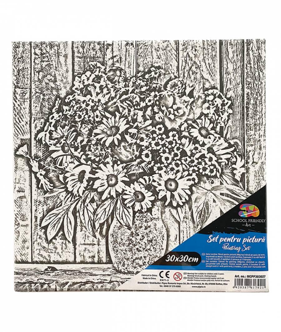 Panza SF ART pre printata  sasiu lemn 1.6x2.5cm 30x30cm Flori 3