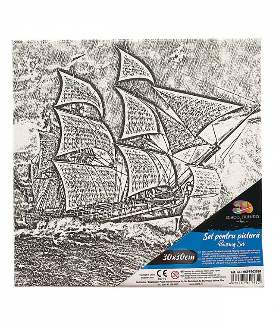 Panza SF ART pre printata  sasiu lemn 1.6x2.5cm 30x30cm Barca 3