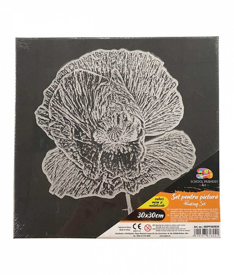 Panza SF ART pre printata neagra sasiu lemn 1.6x2.5cm 30x30cm Floare 5