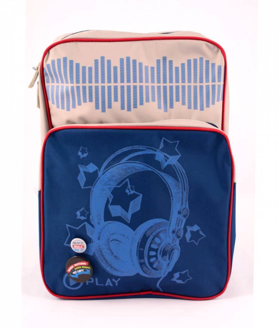 Ghiozdan teens albastru-bej Soundwave