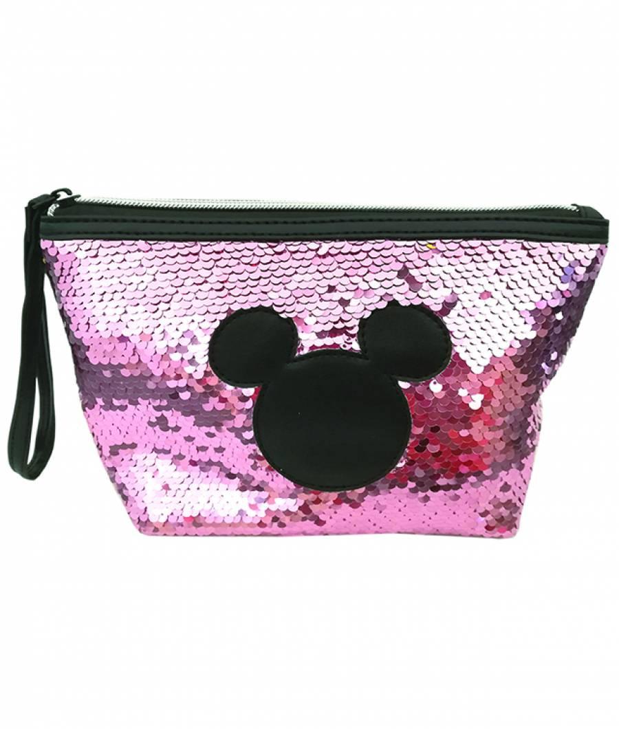 Penar etui 14x21cm Mickey paiete roz