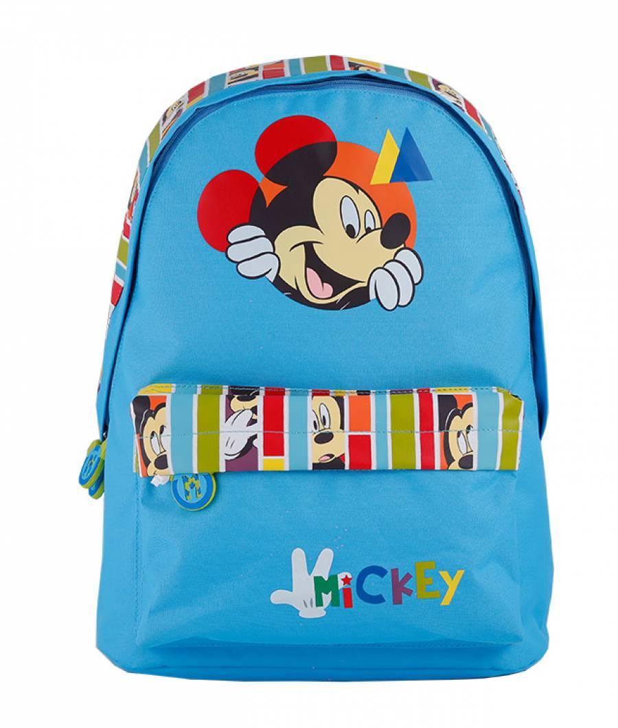 Ghiozdan Gradinita Mickey Mouse cu Buzunar Bleau
