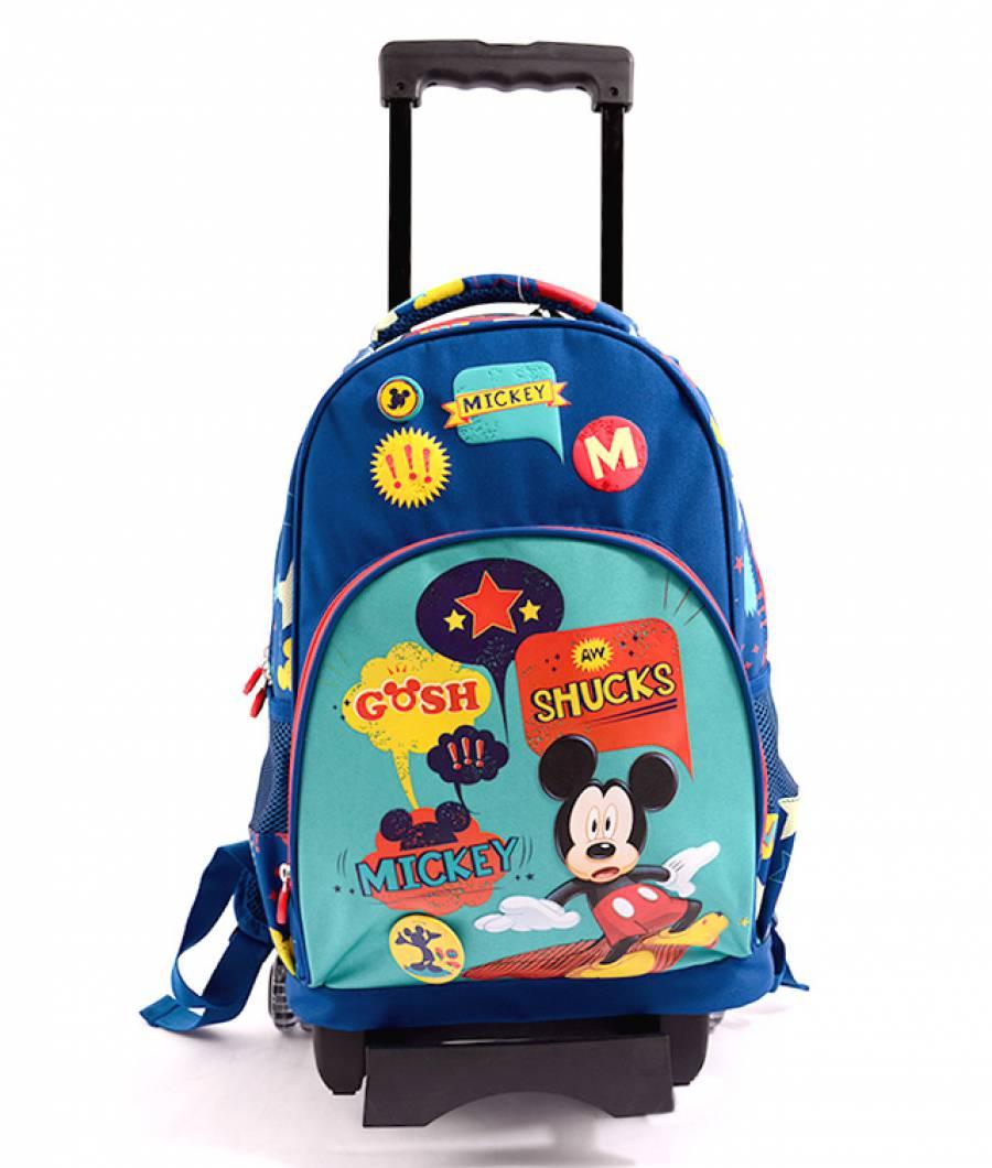 Ghiozdan Troller, clasa 1/4, Mickey Albastru Verde Mickey