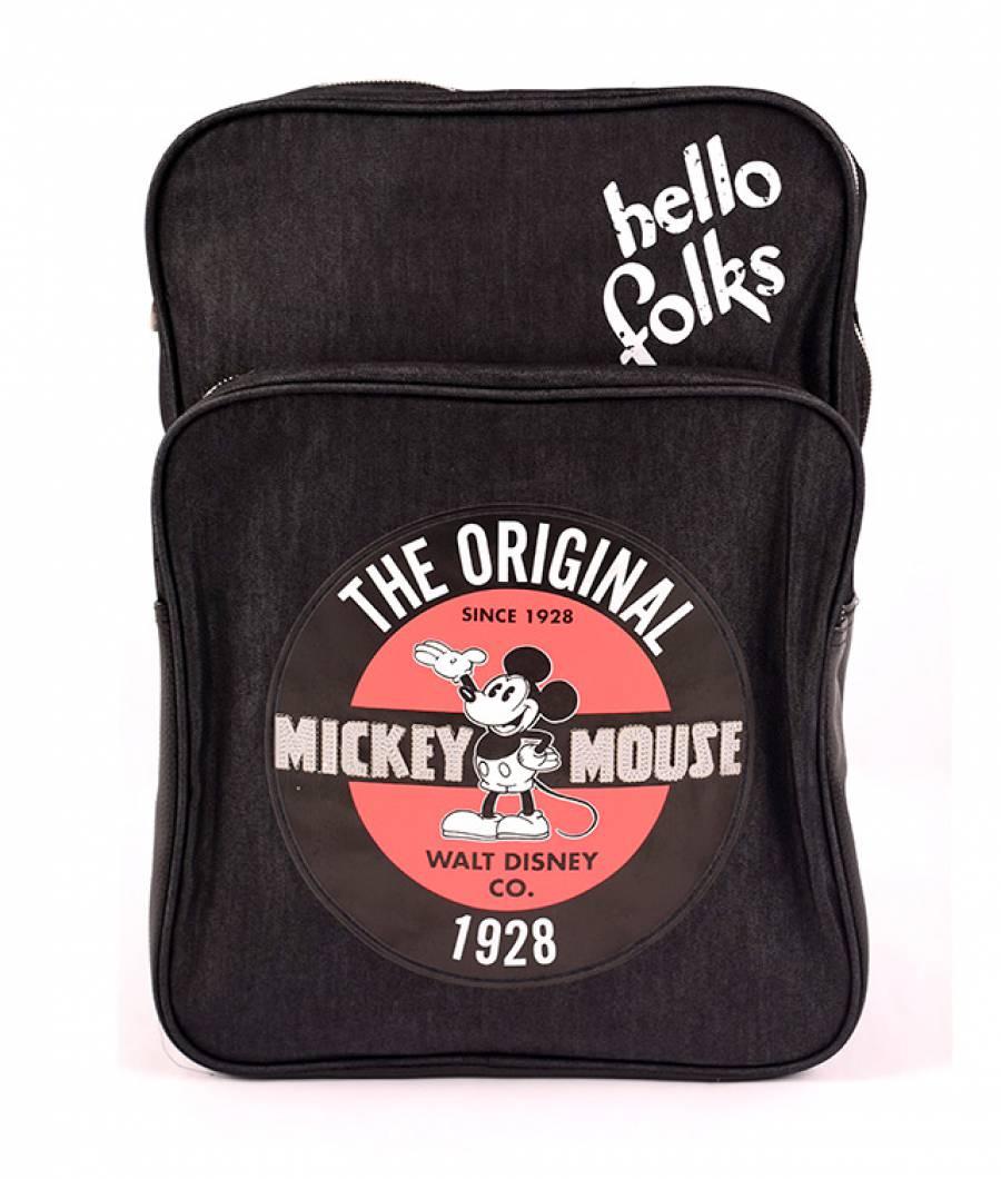 Ghiozdan negru Denim + Piele Ecologica Vintage Mickey