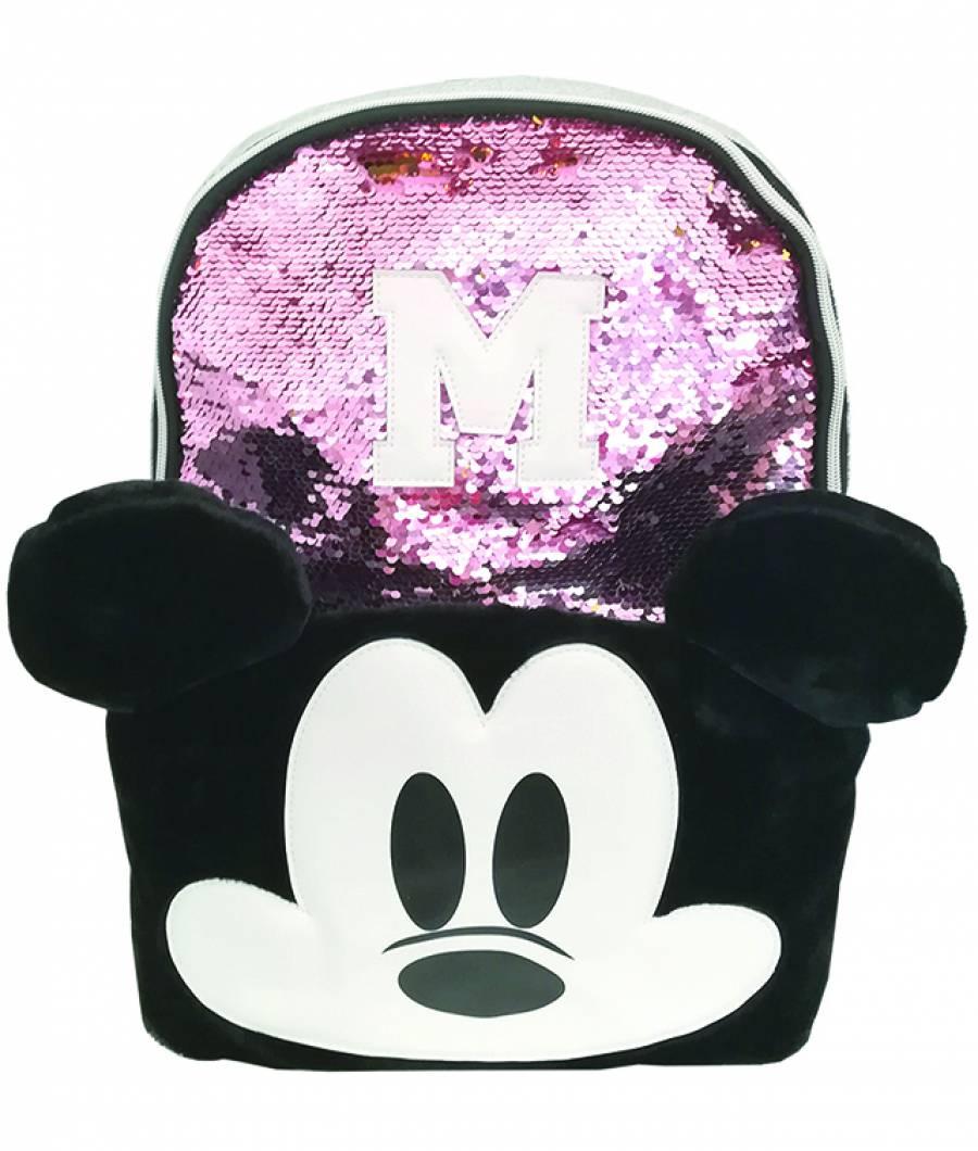 Ghiozdan 43Hx30x12cm Mickey paiete roz