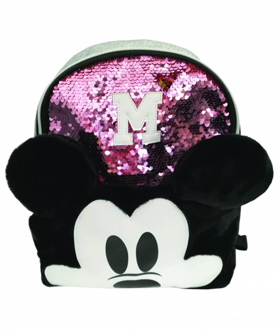 Mini ghiozdan 25Hx22x10cm Mickey paiete roz