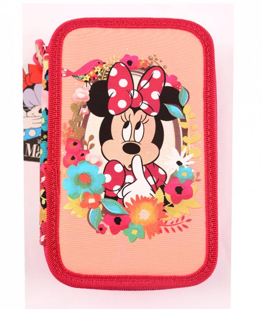 Penar Neechipat 3 fermoare roz inchis floral Minnie