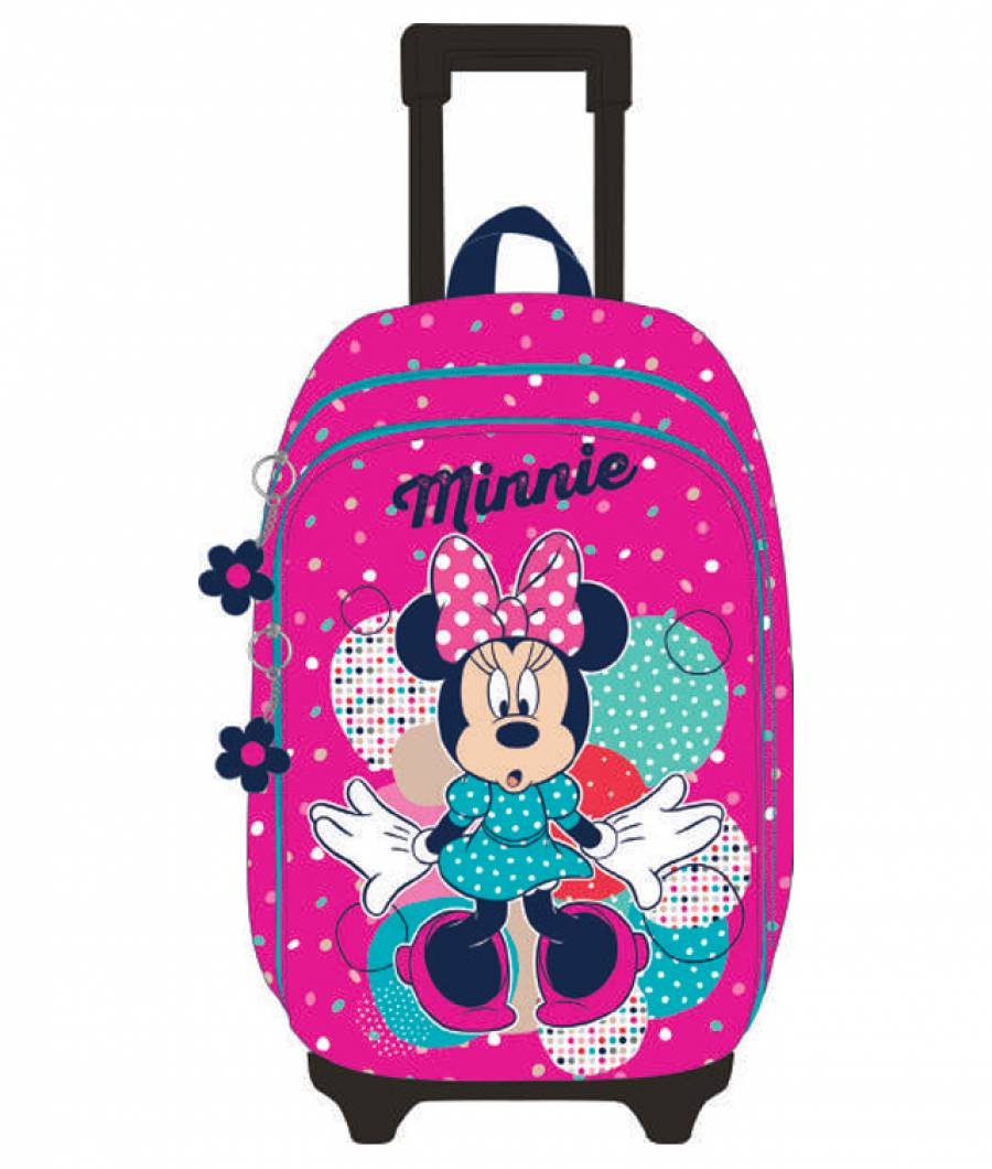 Ghiozdan Troller, clasa 1/4, 3D, 2 fermoare, Minniee Roz-Dots Color Mi