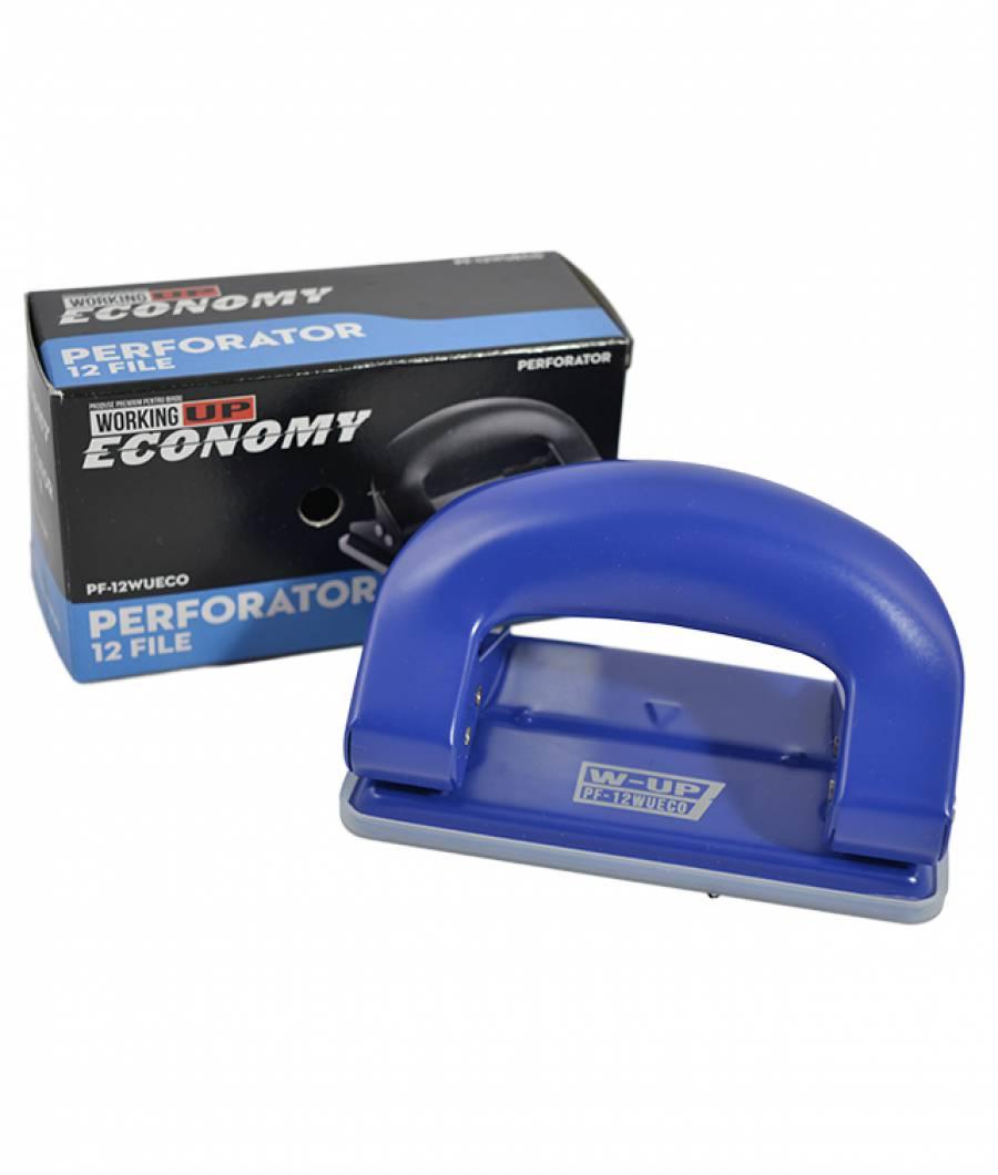 Perforator metalic mic 12file W-UP Economic ALBASTRU