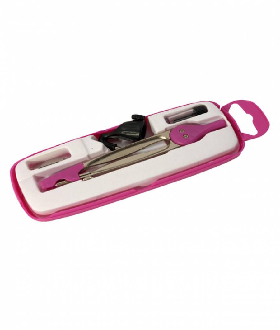 Compas scolar metalic cu protectie varf (+ 3 piese in cutie plastic)