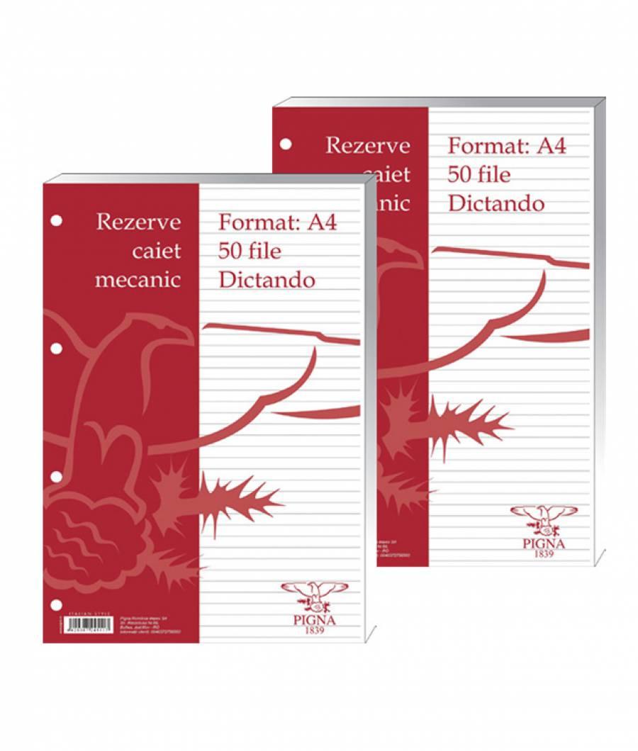 Rezerve caiet mecanic, A4, dictando, 50file alb