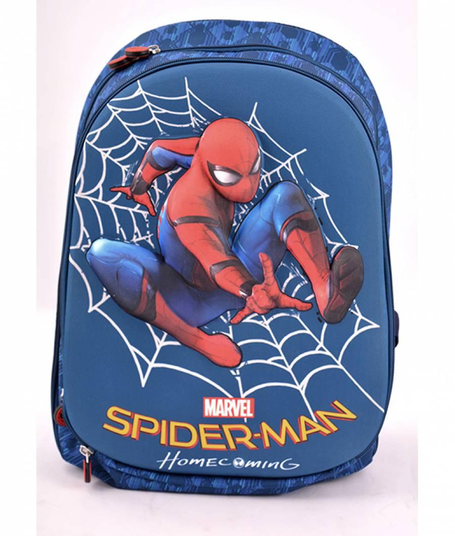 Ghiozdan, clasa 1/4, 3D, 2 fermoare, Spiderman Albastru Spider-man