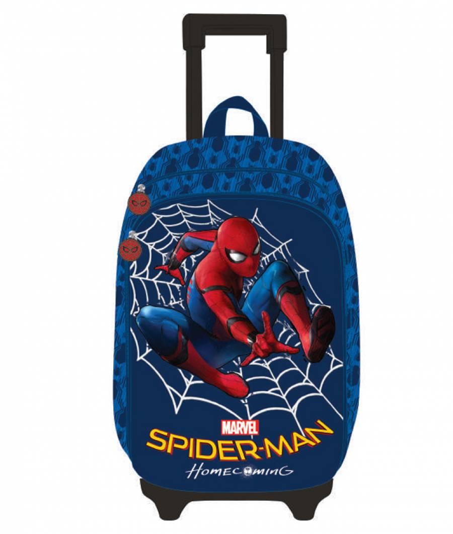 Ghiozdan Troller, clasa 1/4, 3D, 2 fermoare, Spiderman Albastru Spider