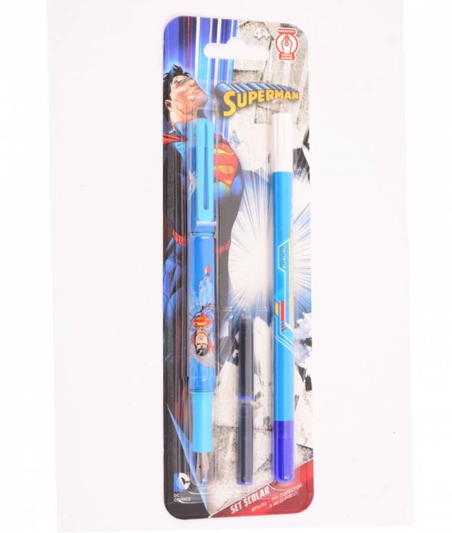 Blister Stilou iridium, 1 corector, 2 rezerve, Superman