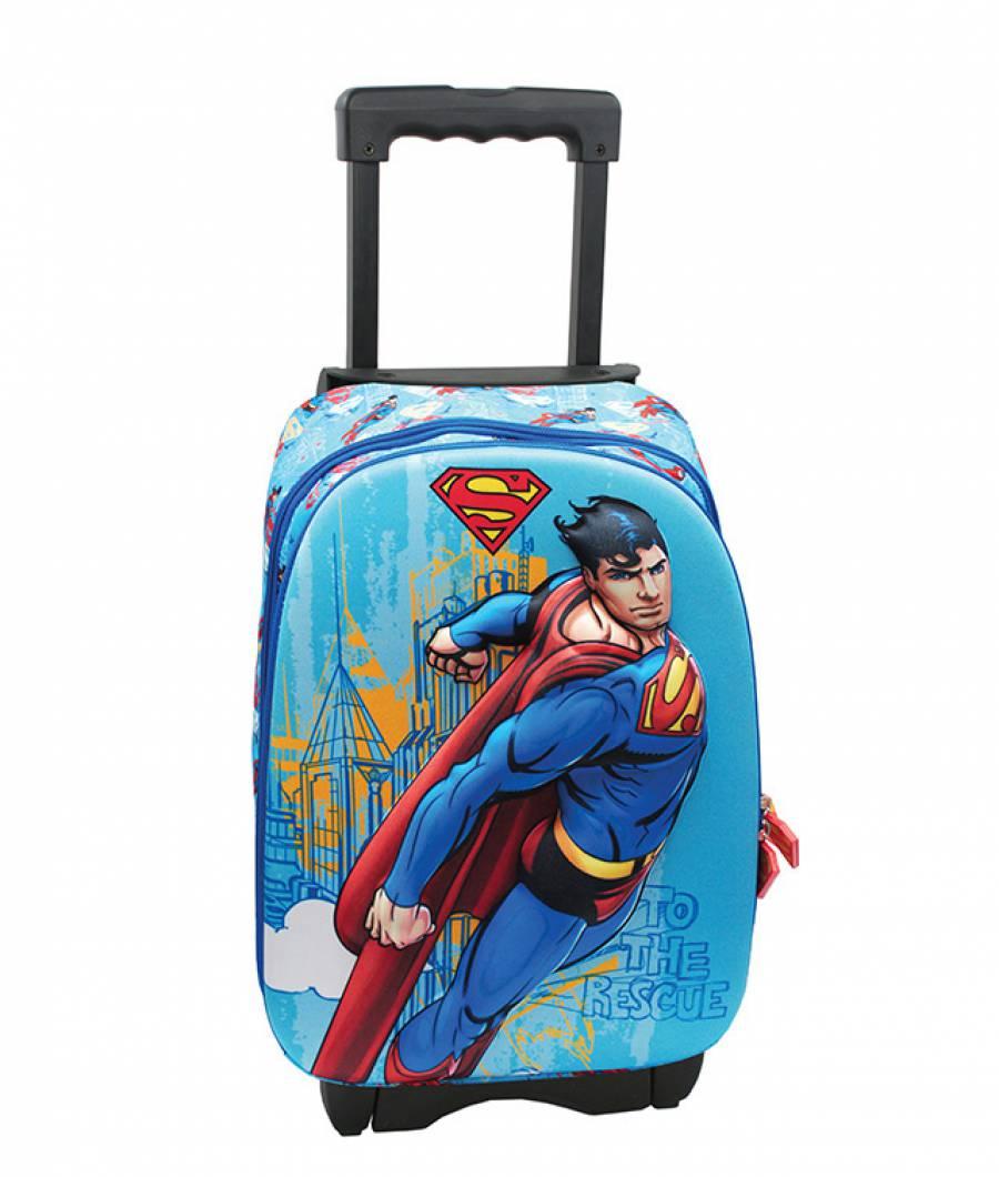 Ghiozdan Troller, clasa 1/4, 3D, 1 fermoar, Superman Troller Detasabi