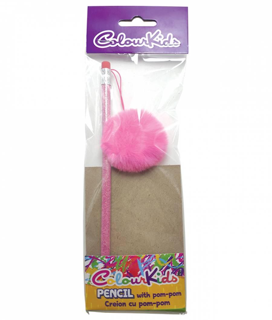 Creioane. HB cu guma POM POM blister 1buc Colour KIDS