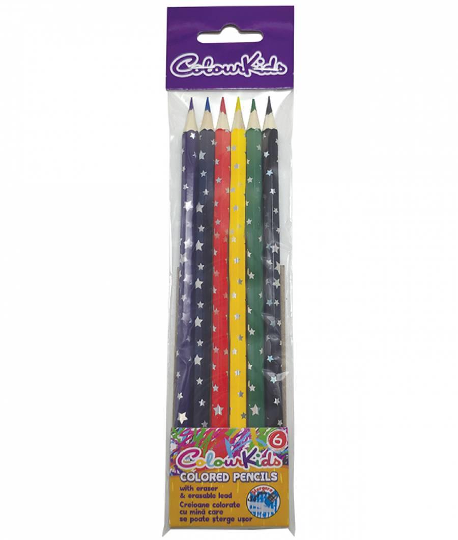 Creioane Color. CK 6buc cu guma Colour KIDS